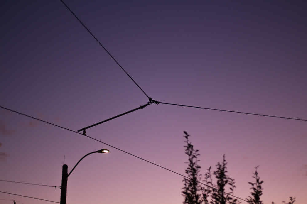 Street wires in front of purple gradient sunset