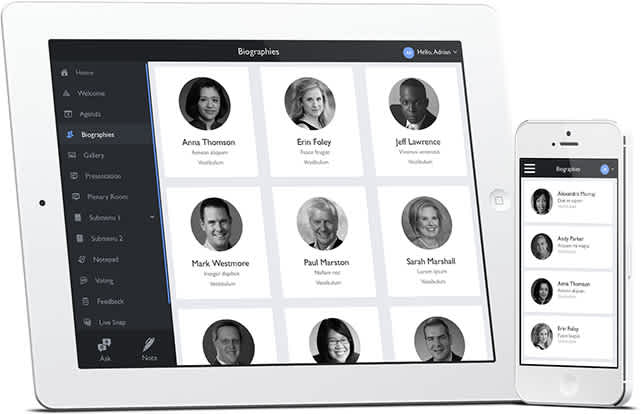 Keynote biographies as shown on iPad and iPhone