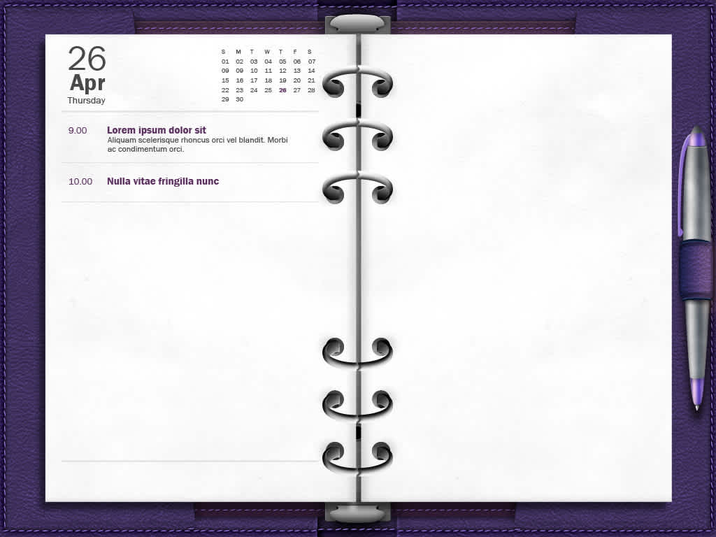 Agenda webapp made to look like real-life filofax with dynamic calendar and paging.