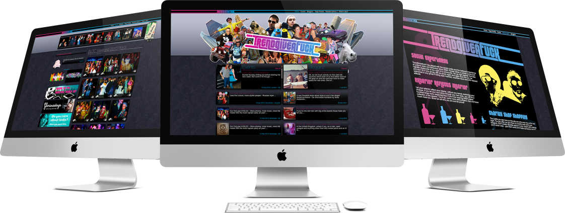 trendgiveafuck pages displayed on three computer screens