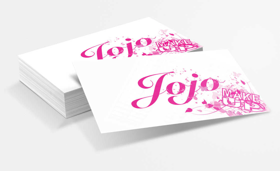 White business cards with pink graphics