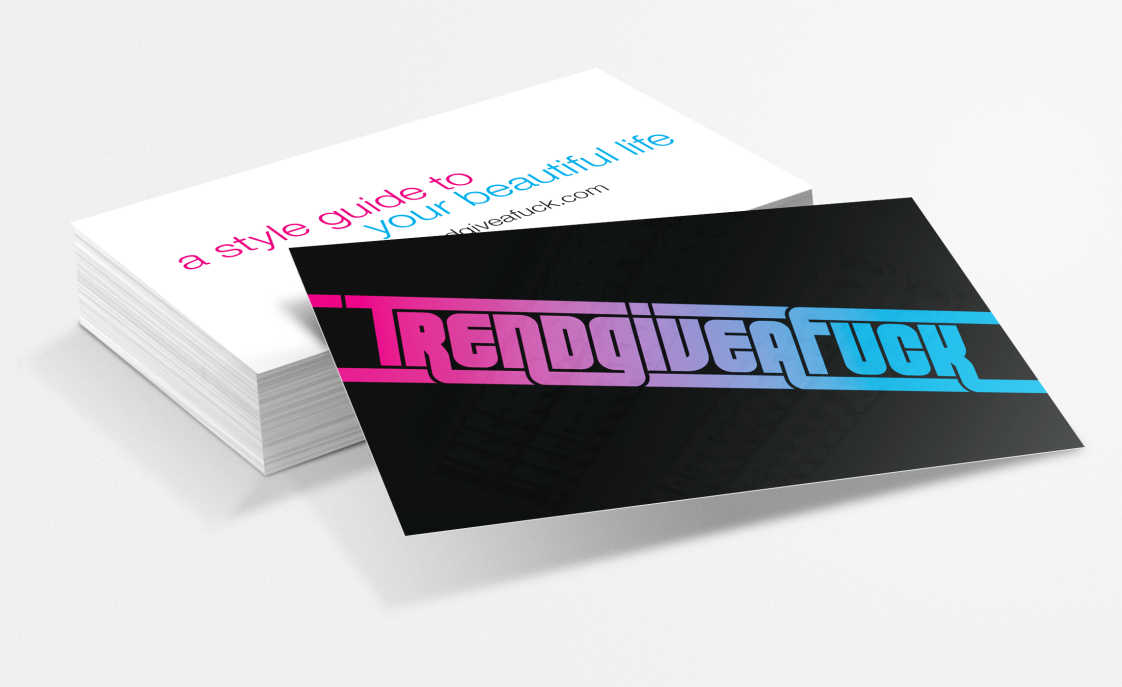 Black business card with pink-to-blue text gradient