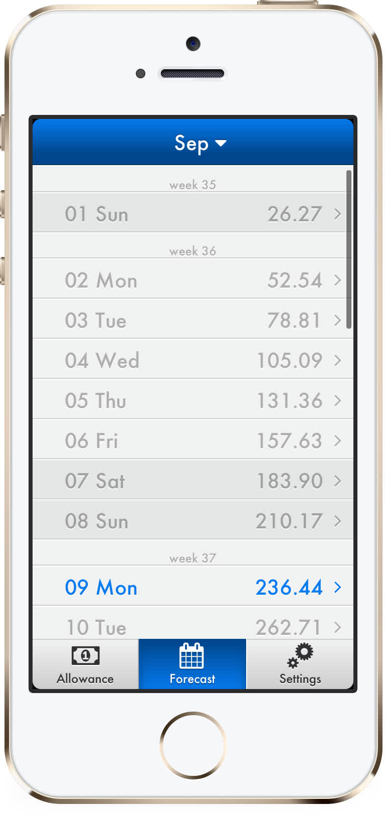 iOS money forecast screen