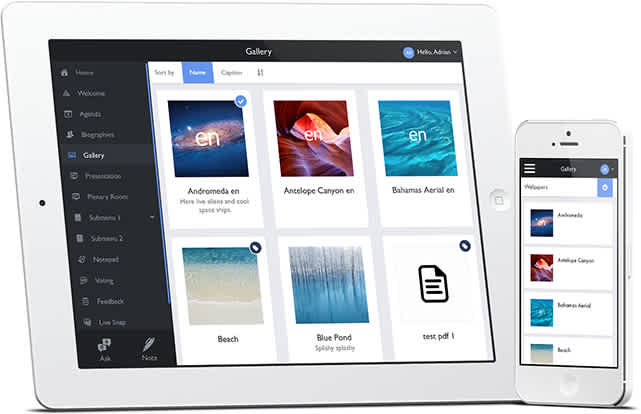 Image and file gallery as shown on iPad and iPhone