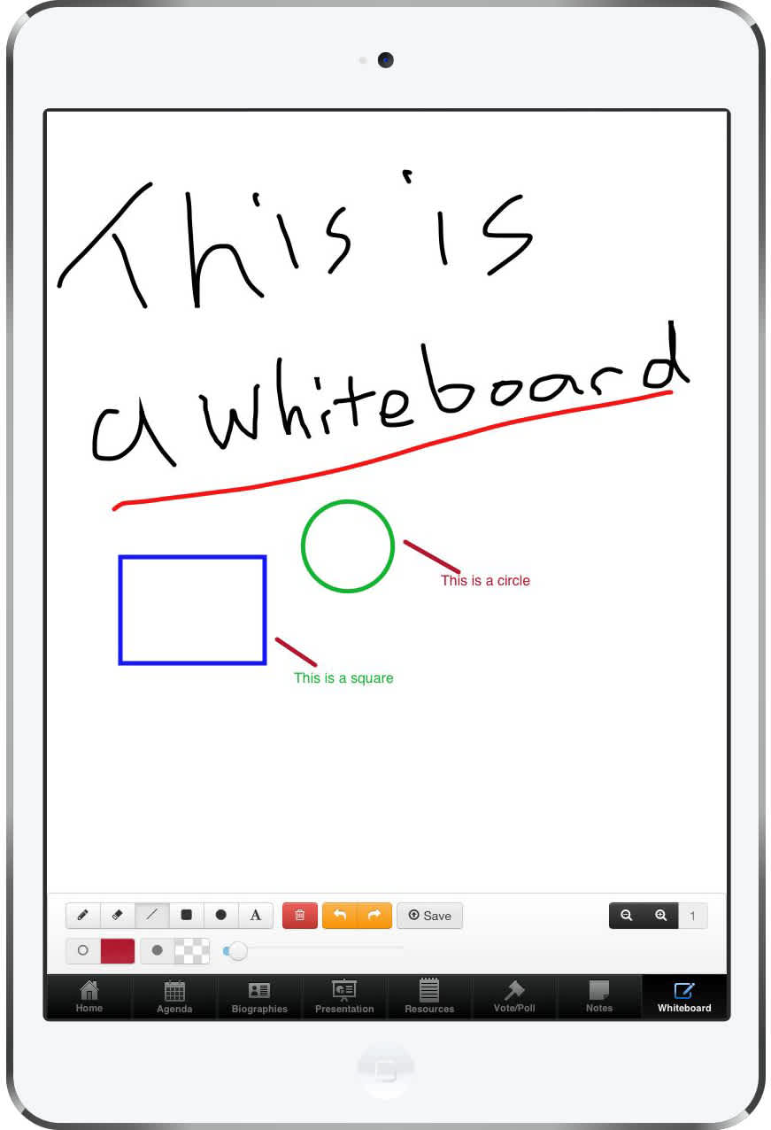 The Whiteboard was a HTML5 canvas-based drawing app with offline storage and option to send the image to a projection screen.
