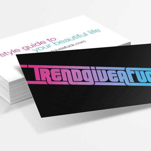 Business cards used for viral marketing by the hipster-hating fashionistas of TrendGiveAFuck.