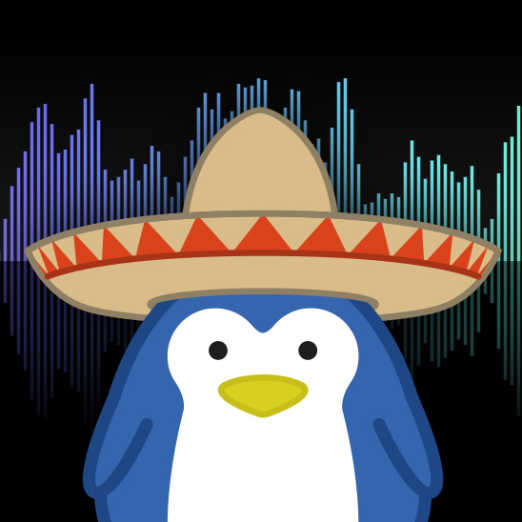 Penguin with sombrero against equaliser effects