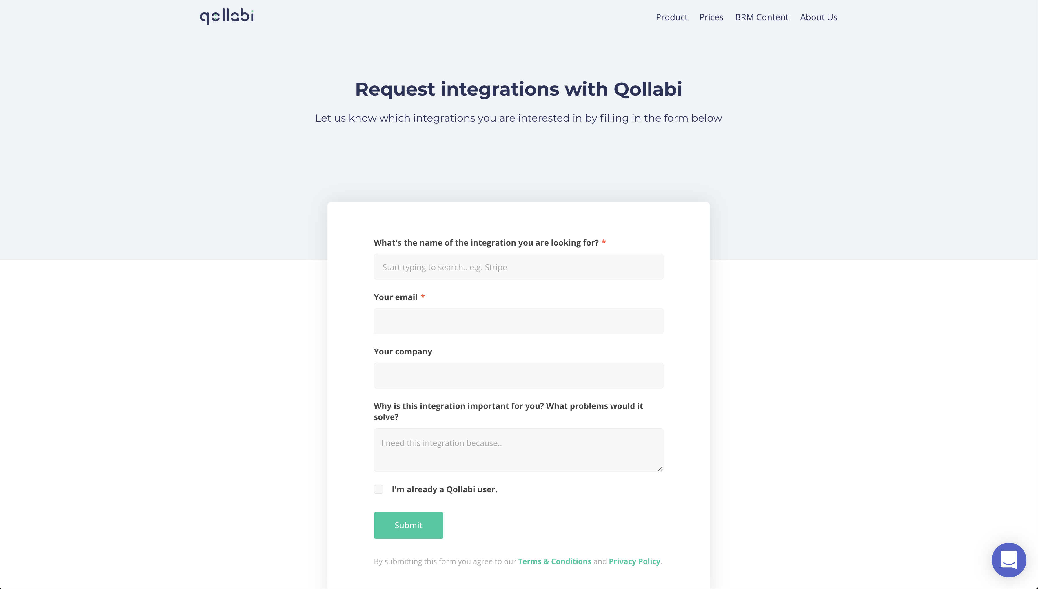 Integration request form