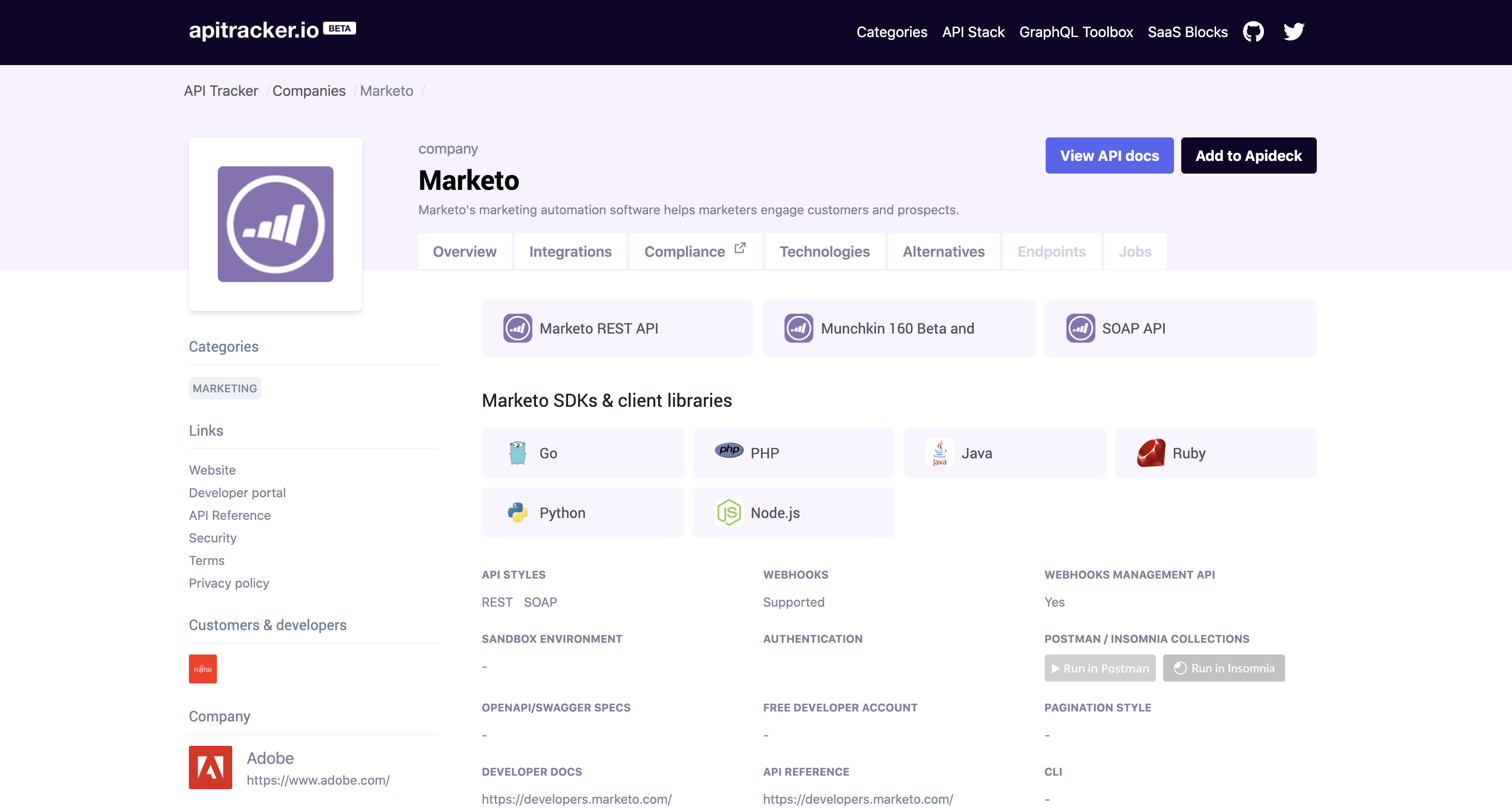 API Tracker Marketo API example