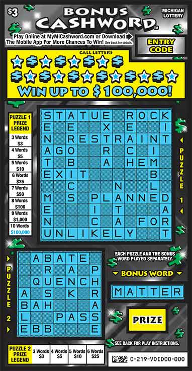 Bonus Cashword | Michigan Lottery