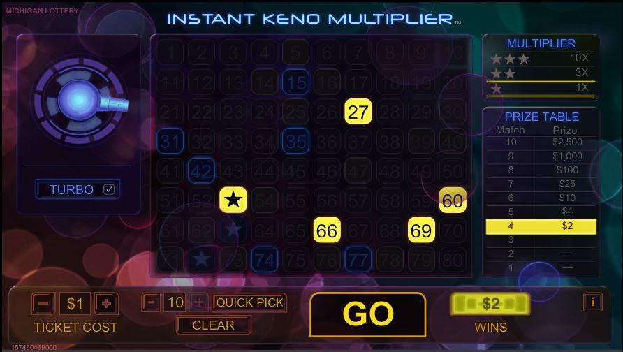 Instant Keno Multiplier | Michigan Lottery