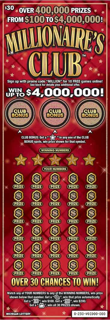 Millionaires club michigan lottery millionaires club retail instant ticket imagery sciox Image collections