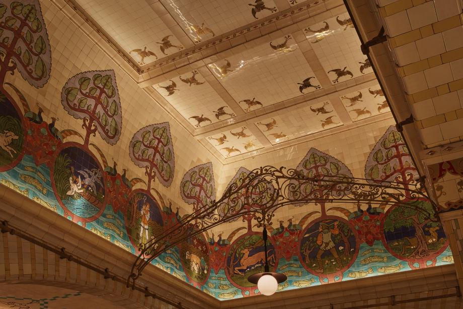 The historic decorative recessed ceiling.