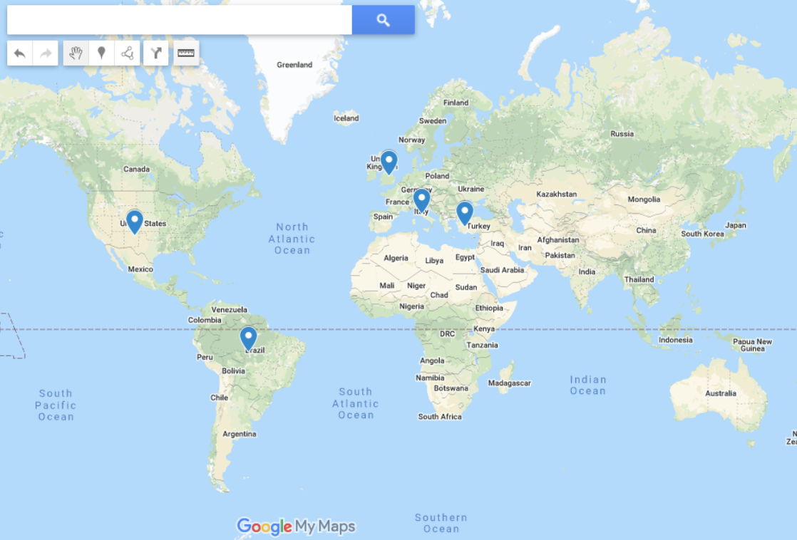 Google Map with pins in various cities