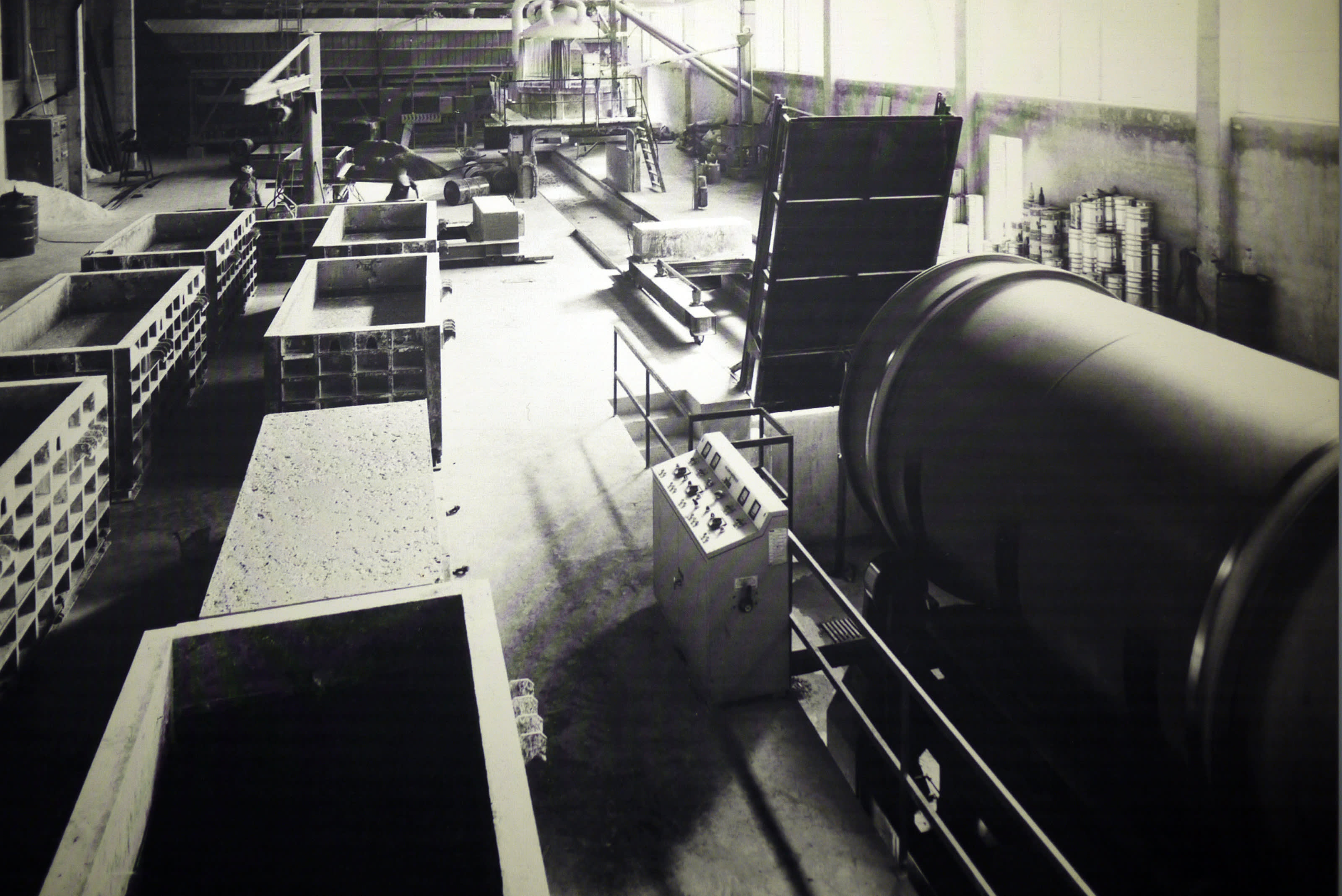 Archive image of an early precast terrazzo production from 1965.
