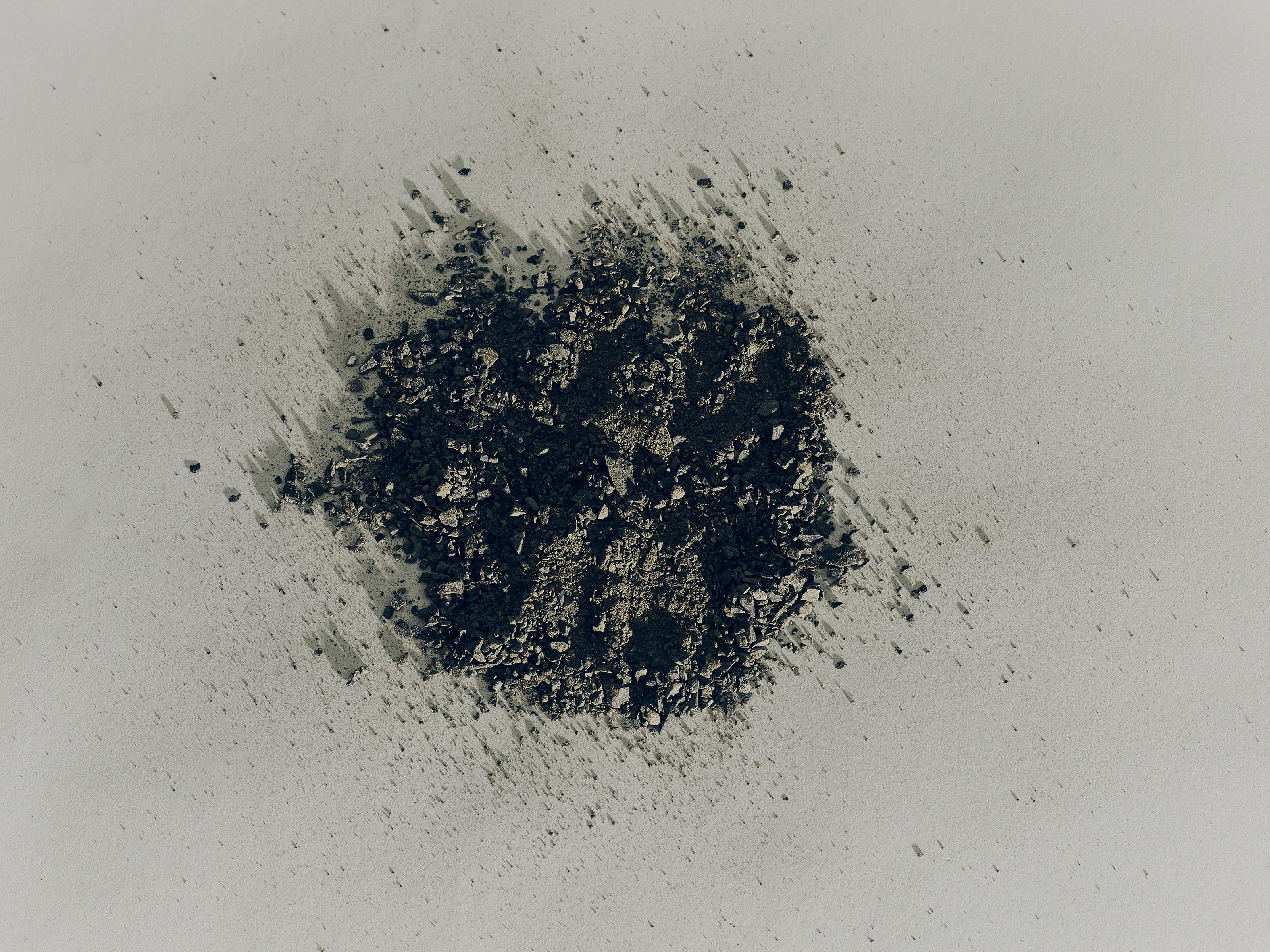 Mixed particles of volcanic ash.