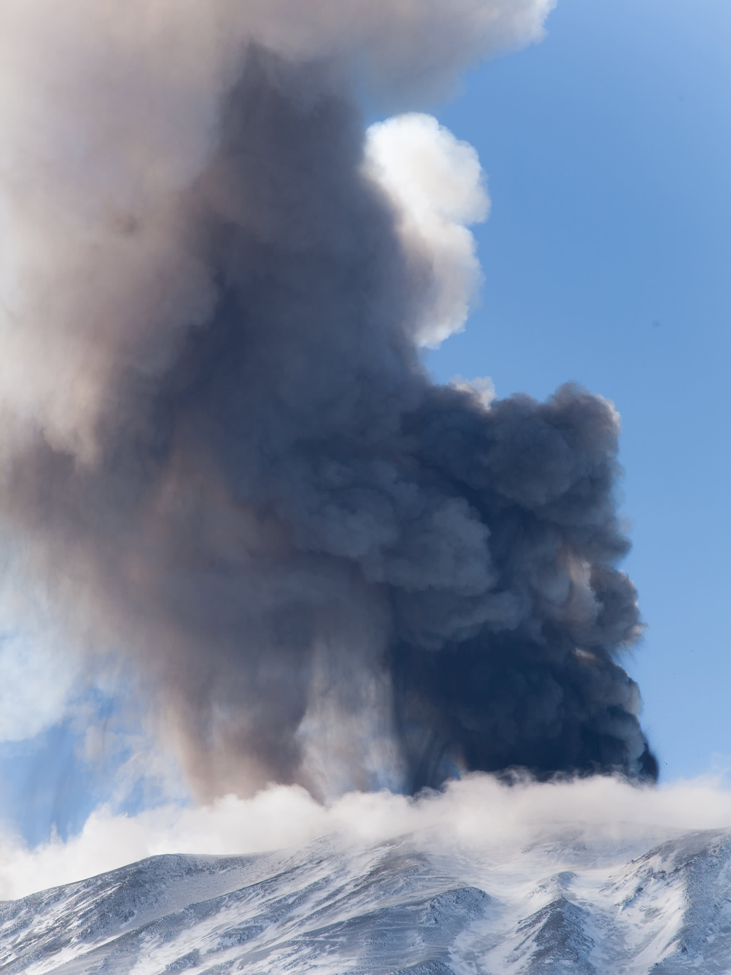 Volcanic eruption during a visit to mount Etna.
