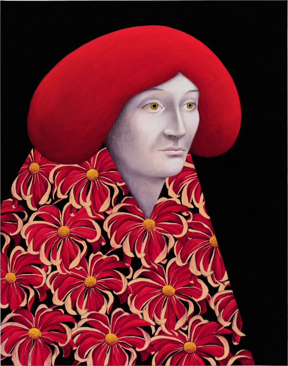 Portrait with Red Flowers, 2020, by Nicolas Party, at Hauser & Wirth