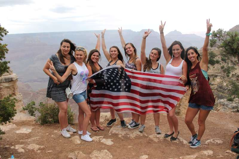 Standing in front of the beautiful Grand Canyon with my au pair friends