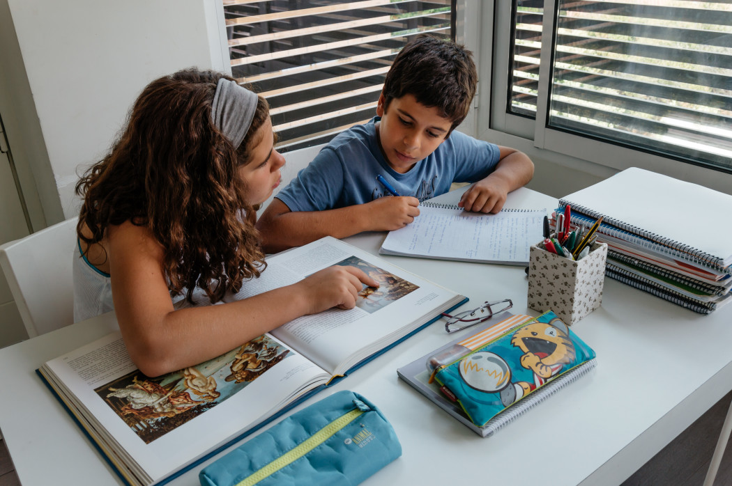 Girl and Boy Studying