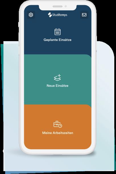Smartphone mit Studitemps App