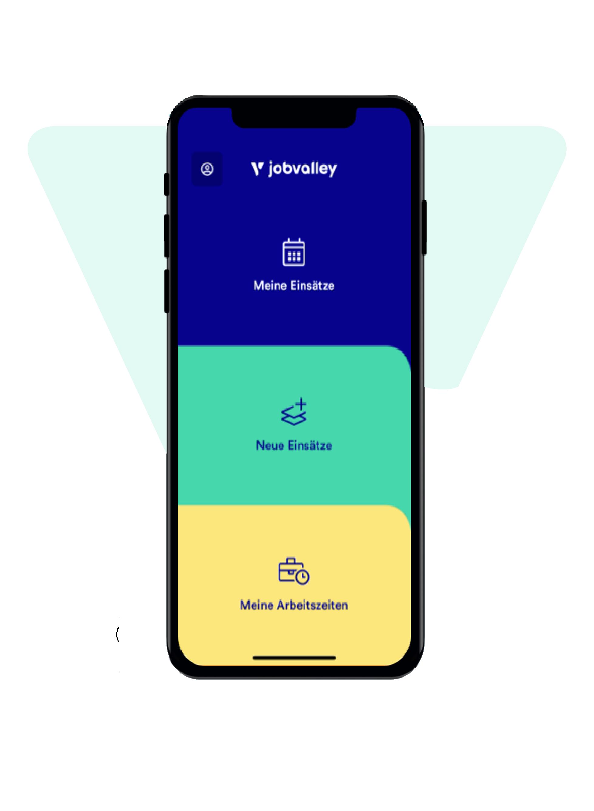 Smartphone mit geöffneter jobvalley App