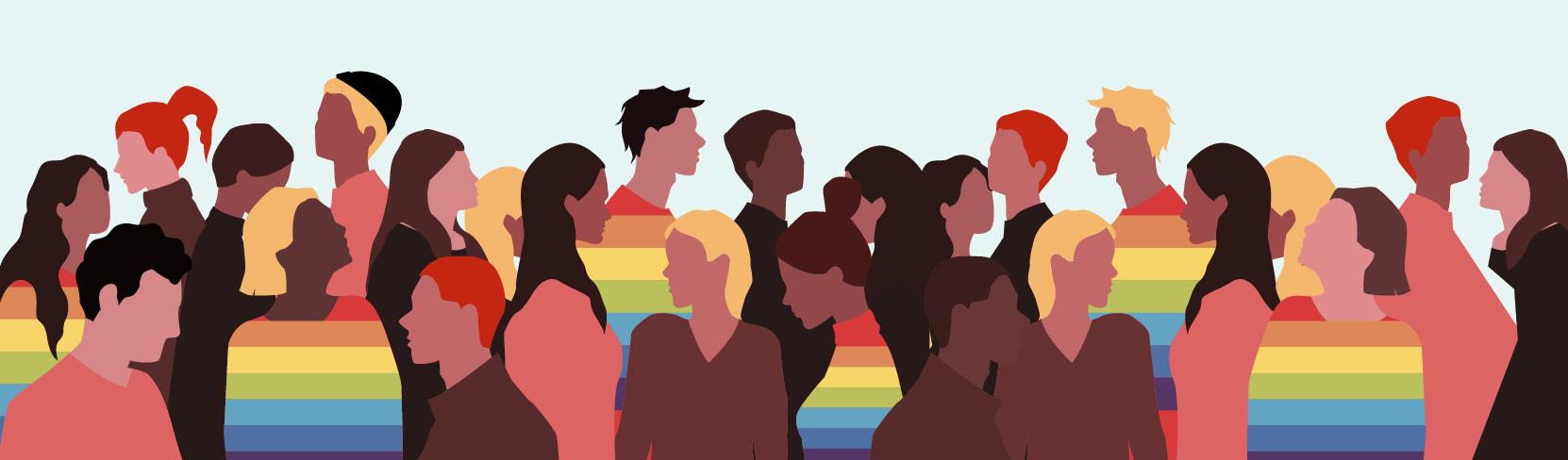 Diverse Menschenmenge mit Regenbogen auf der Oberbekleidung