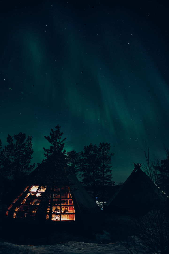Huts at night and a starry sky