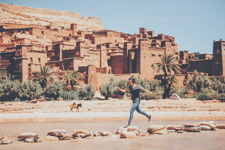 Rock hopping at Aït Benhaddou