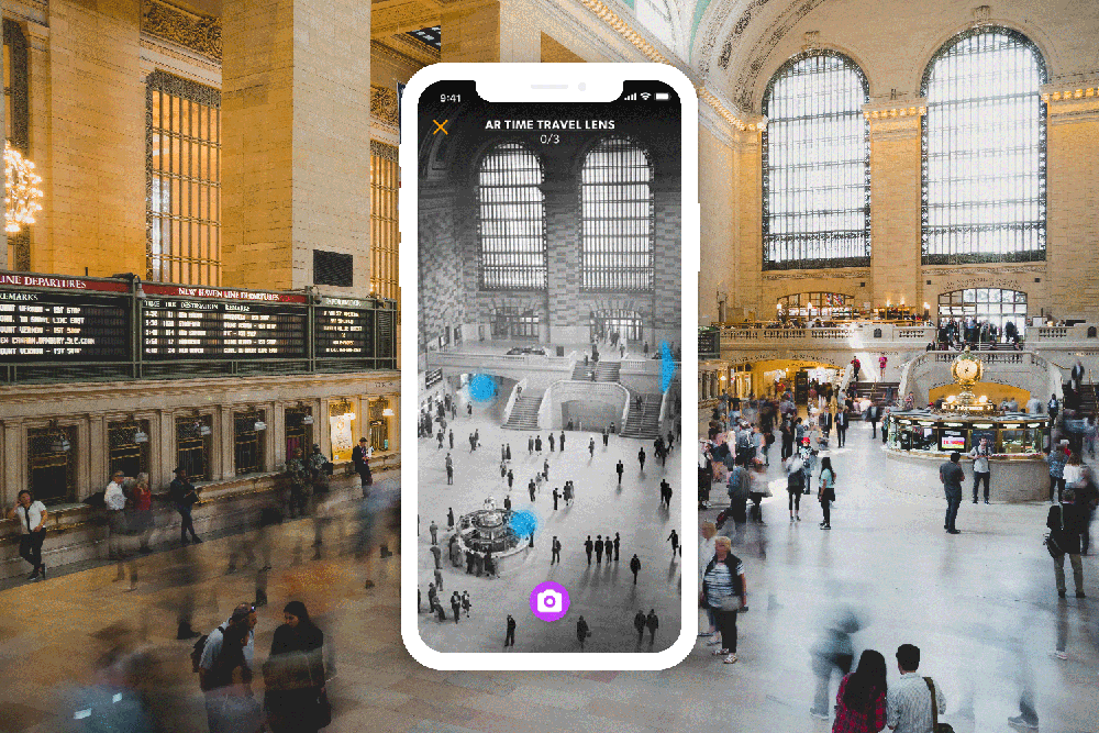 History Hunt mocked up on a phone, showing AR functionality in Grand Central, New York
