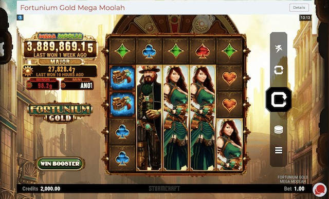 Fortunium Gold Mega Moolah featuring four Jackpots