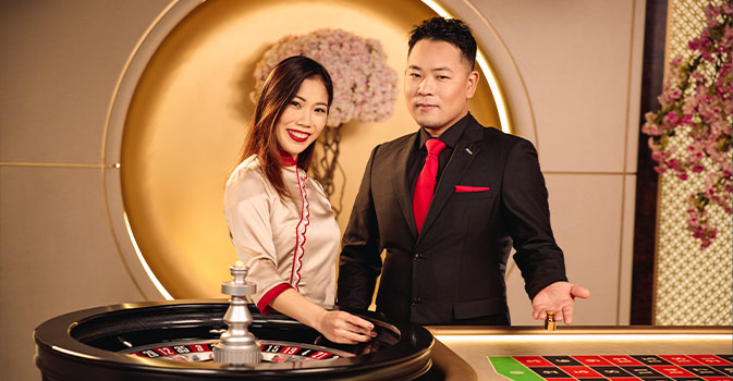 Live Roulette table and a dealer