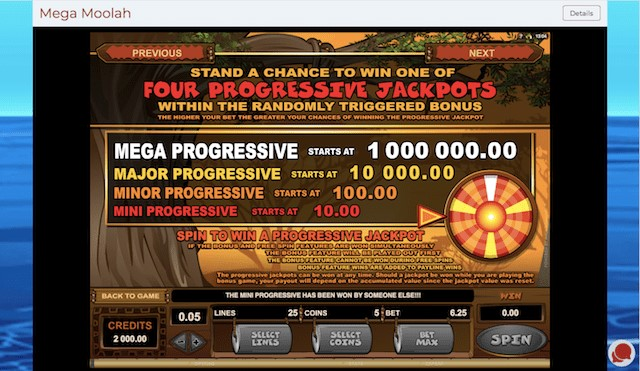 Mega, Major, Minor and Mini Progressive Jackpots