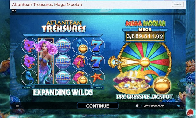 Atlantean Treasures: Mega Moolah's loading screen and features