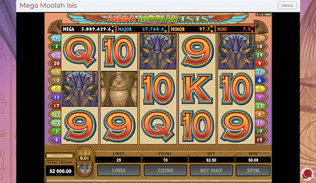 Mega Moolah Isis – Ancient Themed High Variance Slot Game