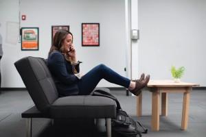 Female enterprise sales executive closing a deal