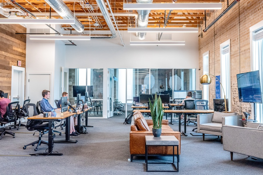 Open office layout at a tech company