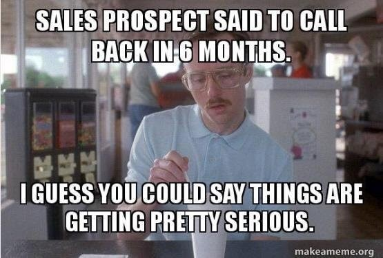 """Napoleon Dynamite getting serious meme with caption, """"They said call back in six months, so I guess you could say it's getting pretty serious."""