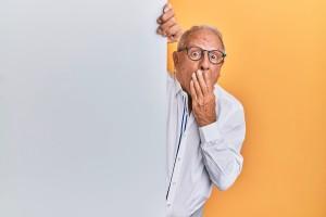 Older man acting surprised