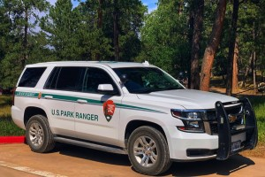 Image of U.S. Park Ranger SUV in front of wooded area
