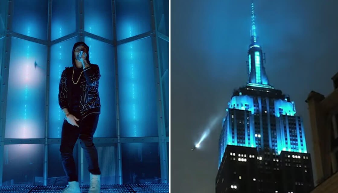 "Cover Image for Eminem Shows Up on 'Jimmy Kimmel Live!' To Perform ""Venom"" Up On Empire State Building"