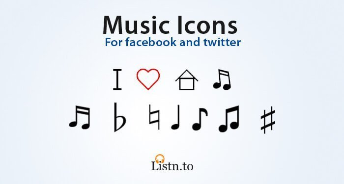 Cover Image for Musical icons for Facebook and Twitter (Notes Emoji)
