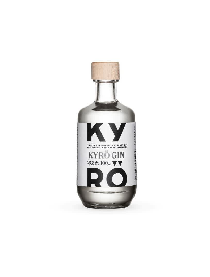 Product photo: 0,1l bottle of award-winning Kyrö Gin made with Finnish rye from the Kyrö Distillery Company.