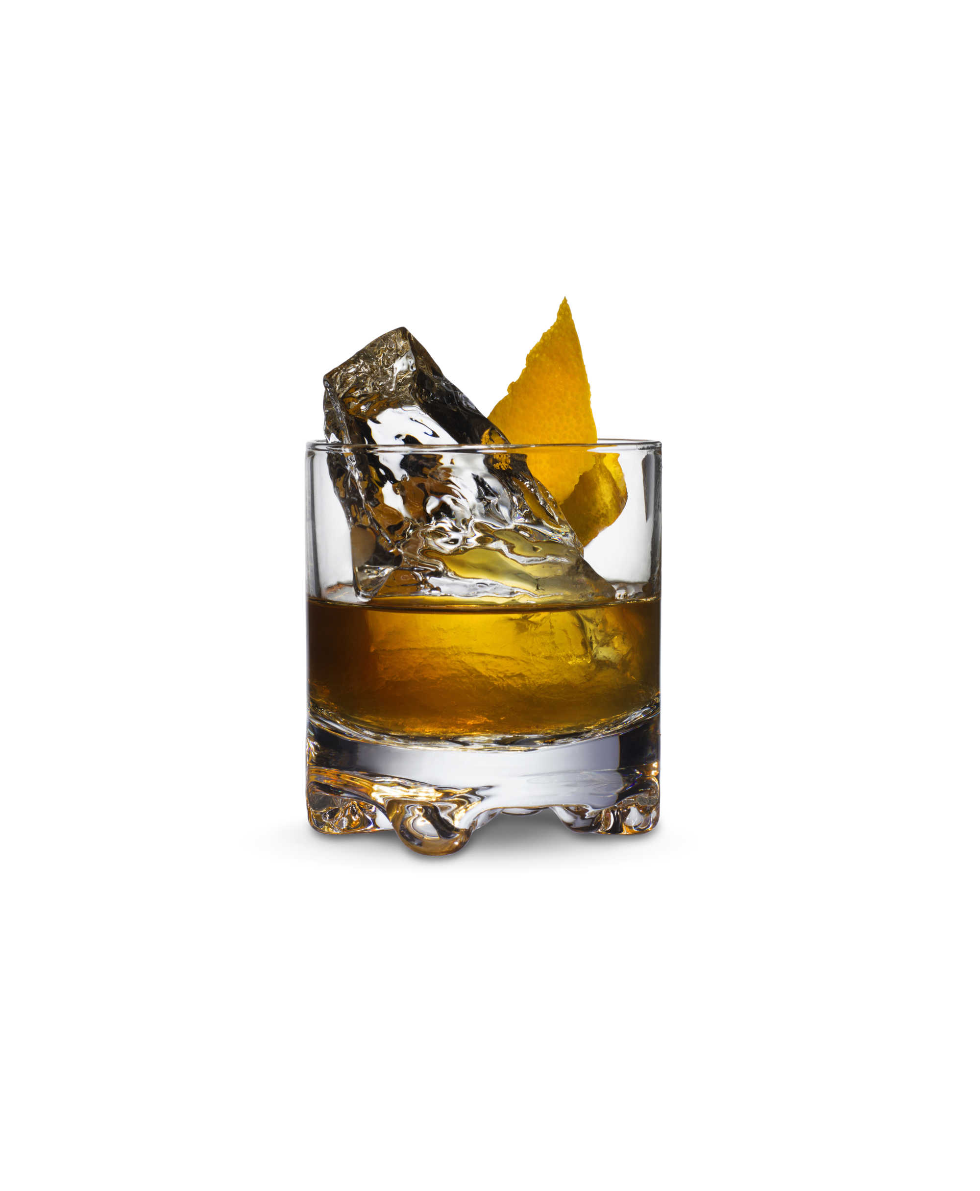 Old Fashioned is a classic whisky cocktail served on ice. Old Fashioned made with using Kyrö Malt is garnished with orange peel.