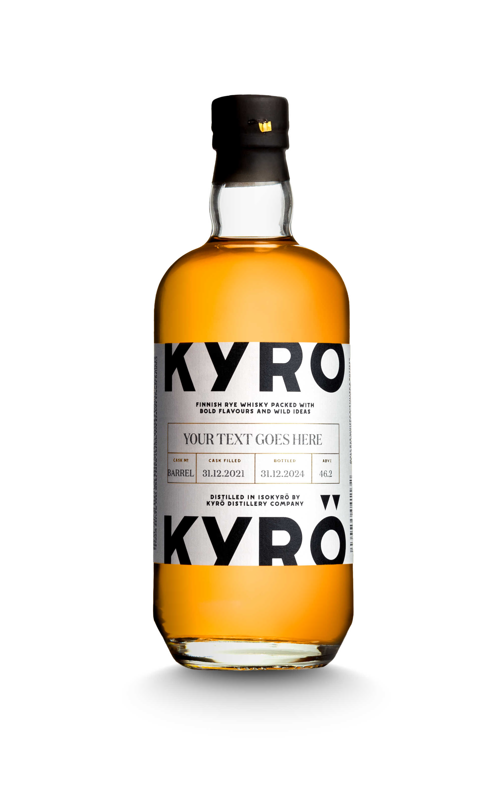 Kyrö Barrel sales bottle with custom label