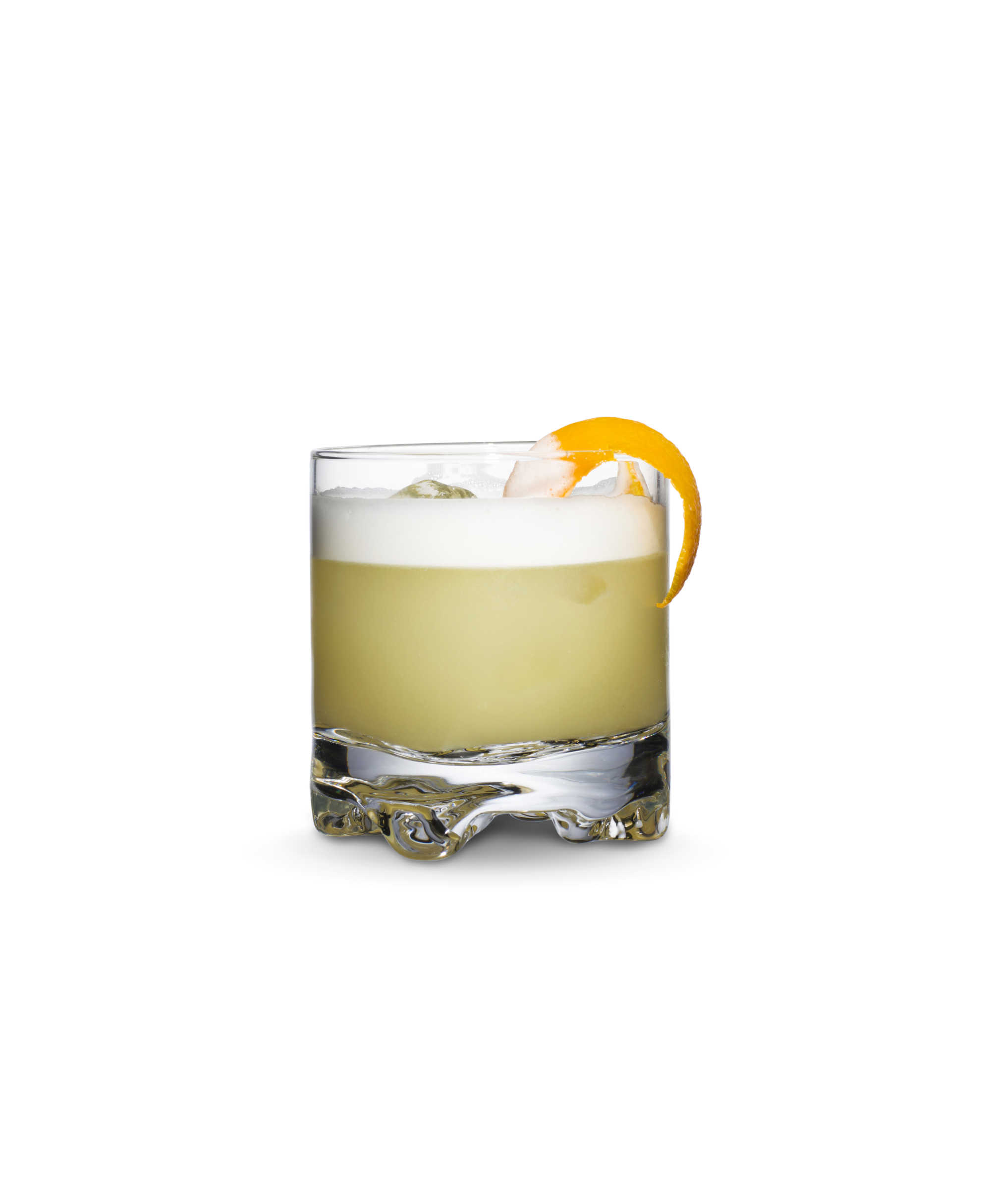 Whisky sour cocktail with orange peel.
