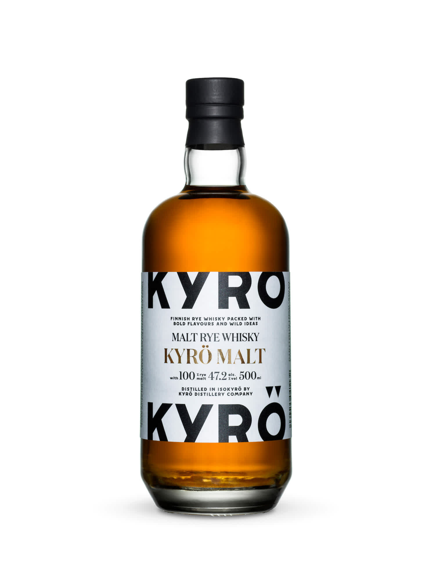 Product photo: 0,5 l bottle of award-winning, Finnish rye whisky from Kyrö Distillery Company.