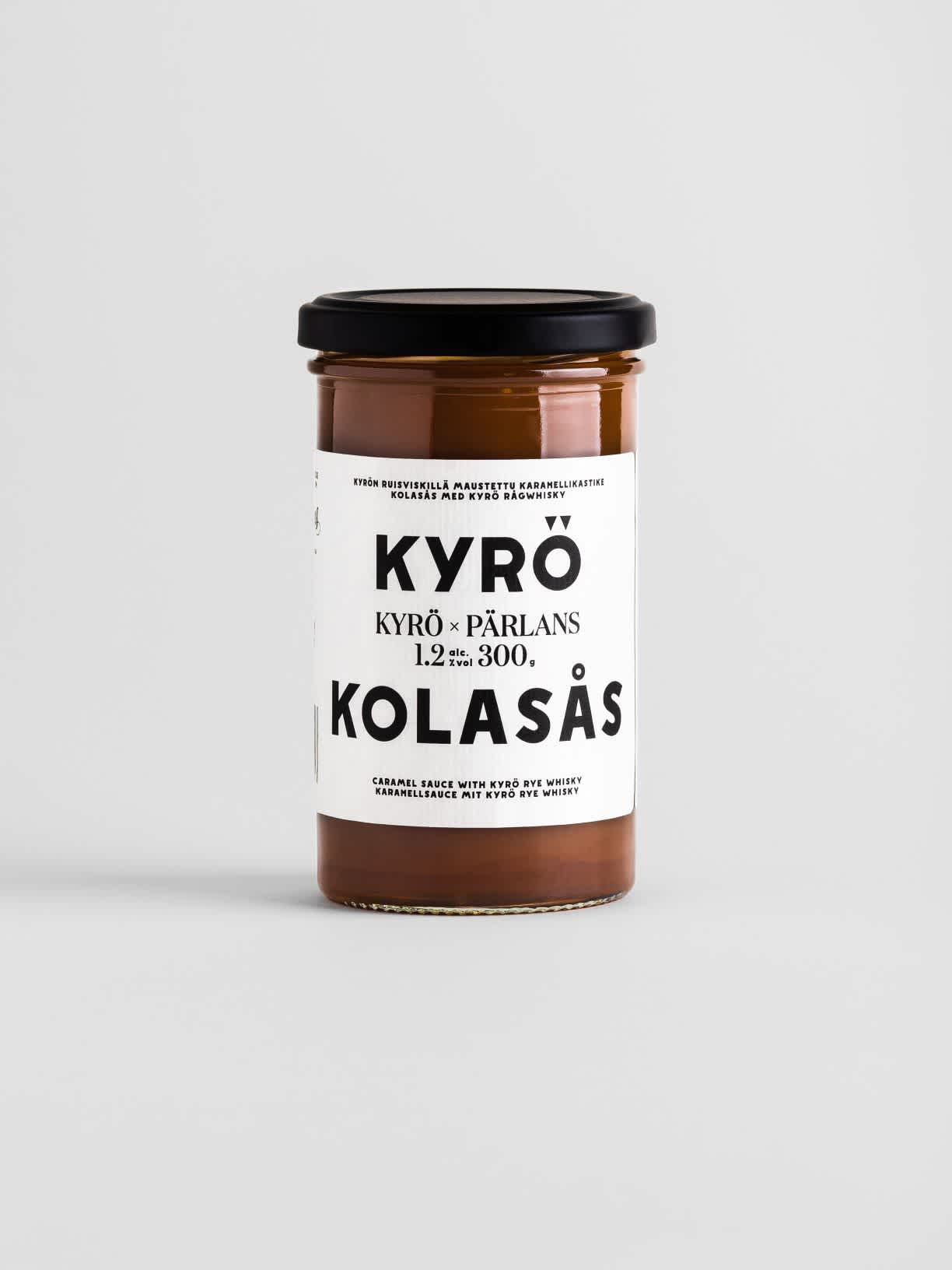 Jar of Kyrö x Pärlans caramel sauce spiced with Finnish rye whisky.