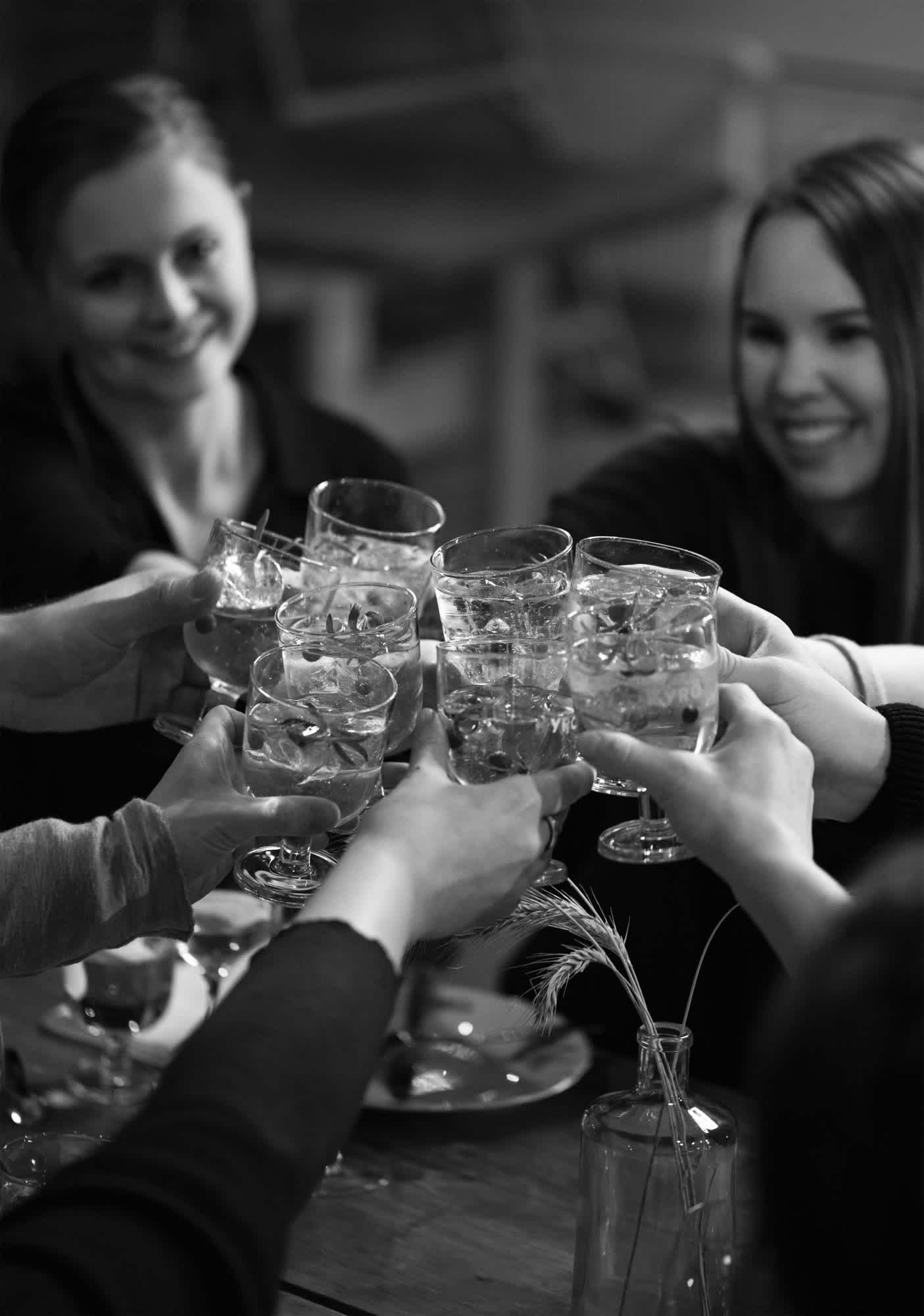 People raising cocktail glasses to toast.