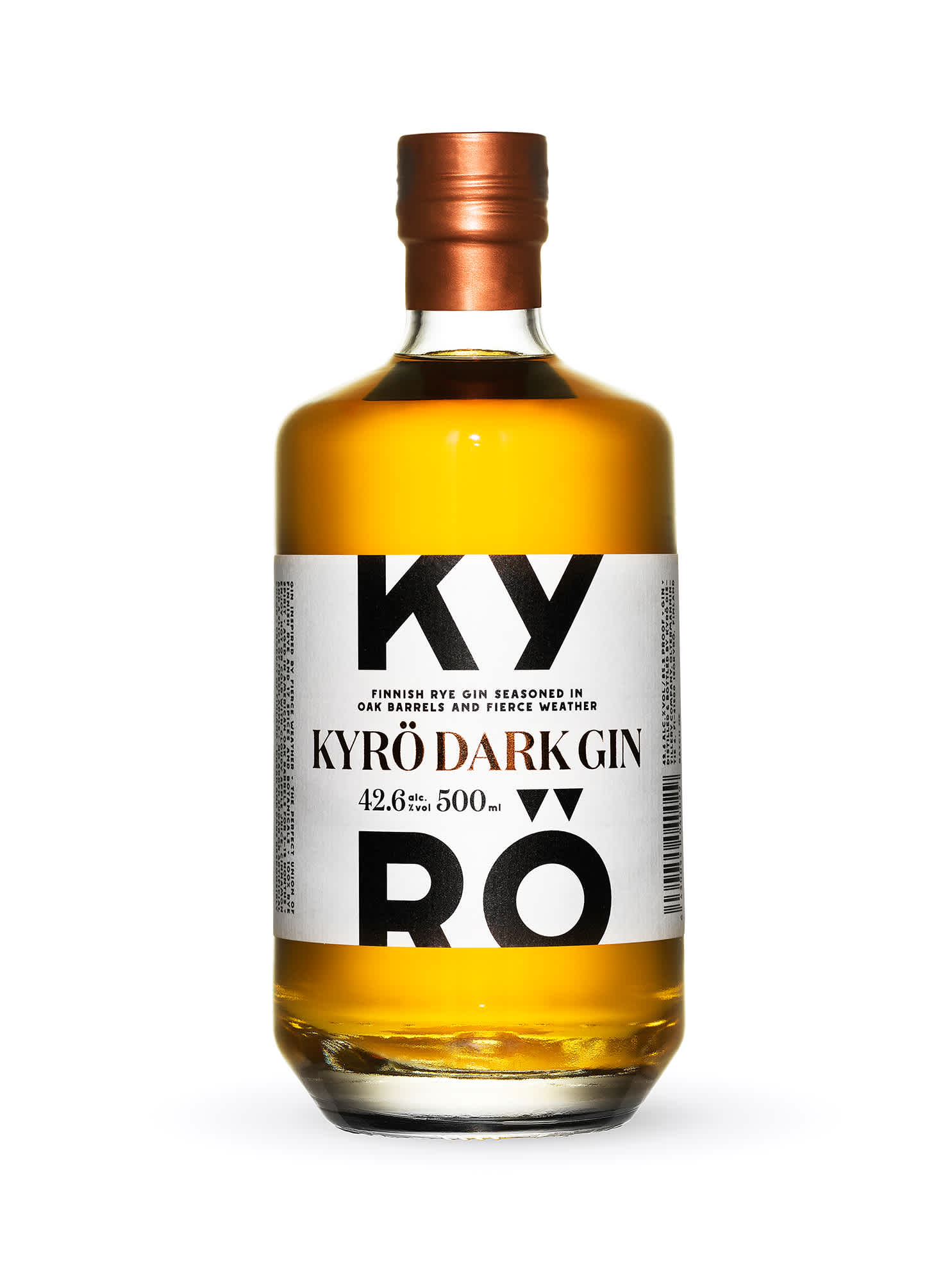 Product photo: a 500ml clear bottle of Kyrö Gin, which is a dark, nutty brown, made by the Kyrö Distillery Company in Isokyrö, Finland.
